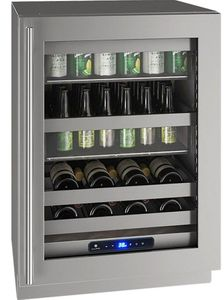 "UHBV524-SG01A U-Line 24"" 5 Class Series Stainless Frame Undercounter Beverage Center with Variable Speed Compressor and Convection Cooling System - Reversible Hinge - Stainless Steel"