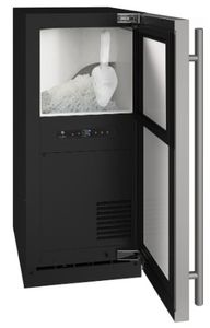 "UHNB115-SS01A U-Line 15"" Nugget Ice Maker  with Bright LED Lighting and White Interior - Reversible Hinge - Stainless Steel"