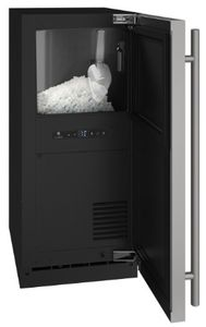 """UHNB315IS01A U-Line 15"""" Nugget Ice Maker  with Interior Water Dispenser and Black Interior - Reversible Hinge - Custom Panel"""
