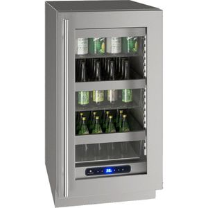 """UHRE518-SG01A U-Line 18"""" 5 Class Series Stainless Frame Undercounter Refrigerator with Variable Speed Compressor and Convection Cooling System - Reversible Hinge - Stainless Steel"""