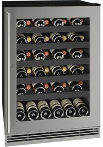 """UHWC124SG31A U-Line 24"""" 1 Class Series Single Zone Wine Cooler with Stainless Steel Frame Lock and 48lb Bottle Capacity - Reversible Hinge - Lock - Stainless Steel"""