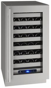 """UHWC518-SG41A U-Line 18"""" 5 Class Series Stainless Frame Undercounter Wine Captain with Lock and Convection Cooling System - Right Hinge - Stainless Steel"""
