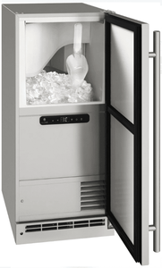 """UOCP115-SS01A U-Line 15"""" Reversible Hinge Outdoor Clear Ice Machine with White LED Interior Lighting - With Pump - Stainless Steel"""