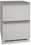 """UODR124-SS61A U-Line 24"""" Outdoor Refrigerator Drawers with Bright White LED Lighting and Digital Touch Pad Control - Stainless Steel"""
