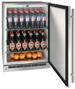 """UOKR124-SS01A U-Line 24"""" Reversible Hinge Outdoor Keg Refrigerator with Bright White LED Lighting - Stainless Steel"""