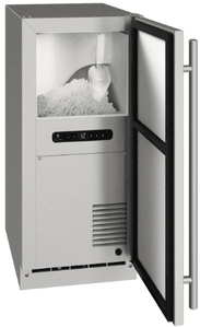 "UONB115-SS01A U-Line 15"" Reversible Hinge Outdoor Nugget Ice Machine with Bright White LED Lighting and White Interior - Stainless Steel"