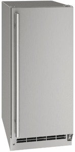 """UONP115-SS01A U-Line 15"""" Reversible Hinge Outdoor Nugget Ice Machine with Bright White LED Lighting and White Interior - Stainless Steel"""