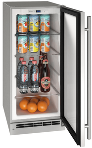 """UORE115-SS31A U-Line 15"""" Outdoor Solid Refrigerator with Lock Reversible Hinge and Digital Touch Pad Control - Stainless Steel"""