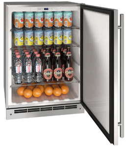 """UORE124-SS01A U-Line 24"""" Reversible Hinge Outdoor Refrigerator with Bright White LED Lighting and White Interior - Stainless Steel"""