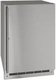 """UORE124SS31A U-Line 24"""" Lock Reversible Hinge Outdoor Solid Refrigerator with Bright White LED Lighting and White Interior - Stainless Steel"""