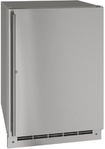 """UORE124-SS31A U-Line 24"""" Lock Reversible Hinge Outdoor Solid Refrigerator with Bright White LED Lighting and White Interior - Stainless Steel"""