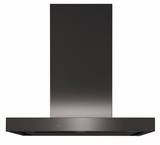 "UVW9301BLTS GE 30"" Designer Wall Mount Glass Canopy Chimney Hood with High Powered 610 CFM Adjustable Blower and Wifi Connect - Black Stainless Steel"