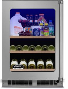 "VBUI5240GLSS 24"" Viking Professional 5 series Undercounter Full Size Beverage Center with Electronic Controls and Dynamic Cooling Technologies - Left Hinge - Stainless Steel"