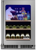 """VBUI5240GRSS 24"""" Viking Professional 5 series Undercounter Full Size Beverage Center with Electronic Controls and Dynamic Cooling Technologies - Right Hinge - Stainless Steel"""