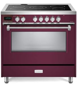 """VDFSEE365BU Verona 36"""" Designer Series Electric Range with 5 Elements Ceramic Cooktops and Single Oven - Burgundy"""