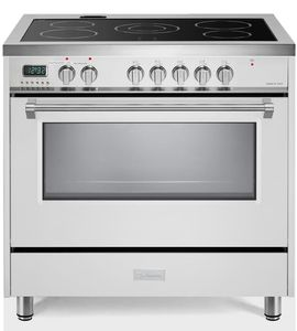 """VDFSEE365W Verona 36"""" Designer Series Electric Range with 5 Elements Ceramic Cooktops and Single Oven - White"""