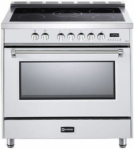 "VDFSEE365W Verona 36"" Designer Series Electric Range with 5 Elements Ceramic Cooktops and Single Oven - White"