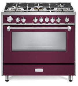 "VDFSGG365BU Verona Designer Series 36"" Gas Range with Single Oven and Infrared Broiler - Burgundy"
