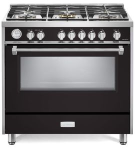 "VDFSGG365E Verona Designer Series 36"" Gas Range with Single Oven and Infrared Broiler - Matte Black"