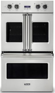 "VDOF7301SS Viking 30"" Professional 7 Series Electric Double French Door Oven with Exclusive Black Chrome Knobs and VariSpeed Dual Flow Convection System - Stainless Steel"