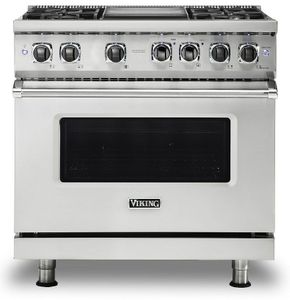 """VDR5364GSS Viking 36"""" Professional 5 Series Dual Fuel Range 4 Sealed Burners and Griddle - Stainless Steel"""