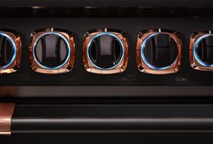 """VDR73624GBORG Viking 36"""" Limited Edition Professional 7 Series Dual Fuel Range with Vichrome Griddle and Viking Elevation Burners - 4 Burners - Natural Gas  - Cast Black with Rose Gold Accents"""