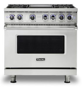 "VDR73624GSS Viking 36"" Professional 7 Series Dual Fuel Range with Vichrome Griddle and Viking Elevation Burners - 4 Burners - Natural Gas  - Stainless Steel"