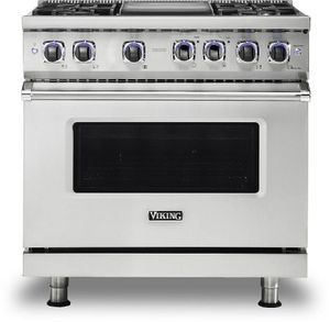 "VDR73624GSS Viking 36"" Professional 7 Series Dual Fuel Range with 4 Elevation Burners and Griddle - Natural Gas  - Stainless Steel"