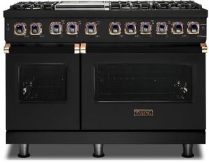 """VDR74826GBORG Viking 48"""" Limited Edition Professional 7 Series Dual Fuel Range with Vichrome Griddle and Viking Elevation Burners - 6 Burners - Natural Gas  - Cast Black with Rose Gold Accents"""