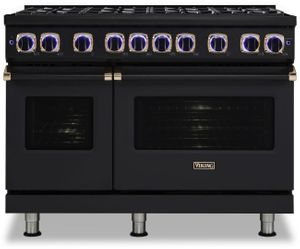 """VDR74828BBORG Viking 48"""" Limited Edition Professional 7 Series Dual Fuel Range with SureSpark Ignition System and Viking Elevation Burners - 8 Burners - Natural Gas  - Cast Black with Rose Gold Accents"""