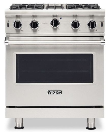 """VGIC53024BSS Viking Professional 5 Series 30"""" Gas Range with VariSimmer on All Burners and BlackChrome Knobs - Natural Gas - Stainless Steel"""