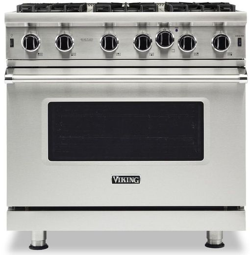 "VGIC53626BSS Viking Professional 5 Series 36"" Gas Range with VariSimmer Setting and 6 Open Burners - Natural Gas - Stainless Steel"