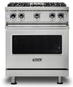 """VGR5304BSS Viking 30"""" Professional 5 Series Freestanding 4 Sealed Burner Gas Range with TruPower Plus and SureSpark - Stainless Steel"""