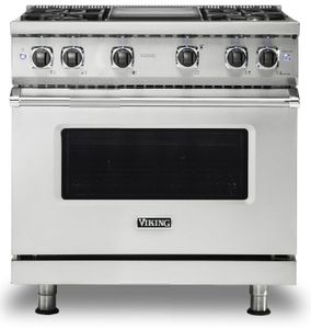 """VGR5364GSS Viking 36"""" Professional 5 Series Freestanding Gas Range with 4 Sealed Burners and Griddle - Stainless Steel"""