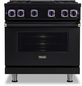 """VGR73624GBORG Viking 36"""" Limited Edition Professional 7 Series Gas Range with Vichrome Griddle and Viking Elevation Burners - 4 Burners - Natural Gas  - Black Out with Rose Gold Accents"""