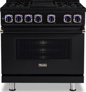 "VGR73624GBORG Viking 36"" Limited Edition Professional 7 Series Gas Range with Vichrome Griddle and Viking Elevation Burners - 4 Burners - Natural Gas  - Black Out with Rose Gold Accents"