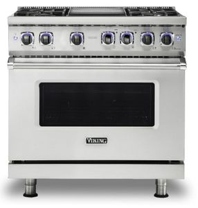 "VGR73624GSS Viking 36"" Professional 7 Series Gas Range with Vichrome Griddle and Viking Elevation Burners - 4 Burners - Natural Gas  - Stainless Steel"