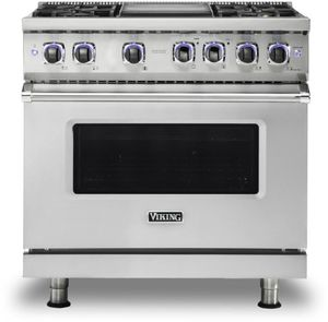 """VGR73624GSS Viking 36"""" Professional 7 Series Gas Range with 4 Elevation Burners and Griddle - Natural Gas  - Stainless Steel"""