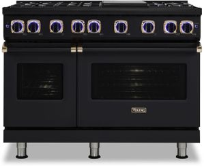 """VGR74826GBORG Viking 48"""" Limited Edition Professional 7 Series Gas Range with Vichrome Griddle and Viking Elevation Burners - 6 Burners - Natural Gas  - Cast Black with Rose Gold Accents"""