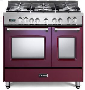 "VPFSGE365DBU Verona 36"" Prestige Series Dual Fuel Double Oven Range with 5 Sealed Gas Burners and 2 European Convection Ovens - Burgundy"