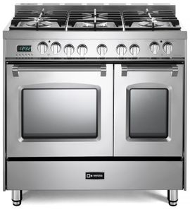 "VPFSGE365DSS Verona 36"" Prestige Series Dual Fuel Double Oven Range with 5 Sealed Gas Burners and 2 European Convection Ovens - Stainless Steel"