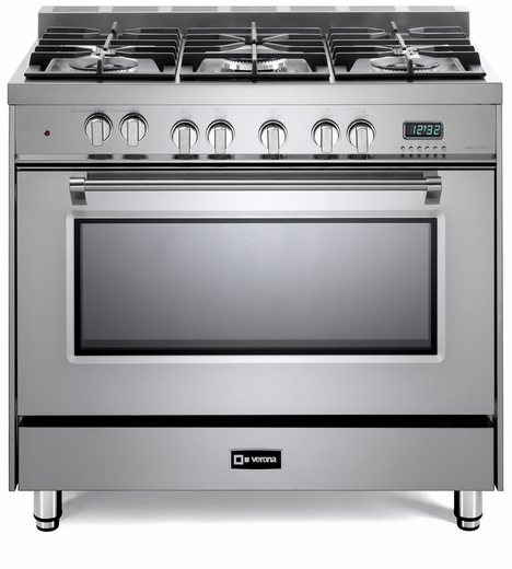 "VPFSGE365SS Verona 36"" Prestige Series Dual Fuel Single Oven Range with 5 Sealed Gas Burners and European Convection Oven - Stainless Steel"
