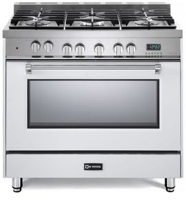 "VPFSGE365W Verona 36"" Prestige Series Dual Fuel Single Oven Range with 5 Sealed Gas Burners and European Convection Oven - White"