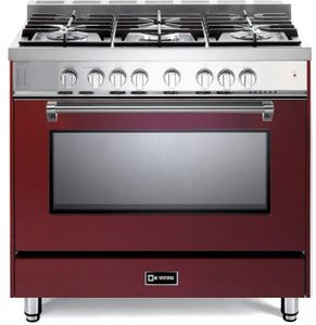 "VPFSGG365BU Verona 36"" Prestige Series Gas Single Oven Range with 5 Sealed Gas Burners and Full Function Convection Oven - Burgundy"