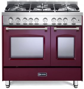 """VPFSGG365DBU Verona 36"""" Prestige Series Gas Double Oven Range with 5 Sealed Gas Burners and Full Function Convection Oven - Burgundy"""
