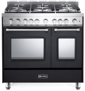 "VPFSGG365DE Verona 36"" Prestige Series Gas Double Oven Range with 5 Sealed Gas Burners and Full Function Convection Oven - Matte Black"