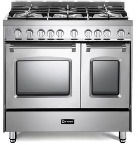 """VPFSGG365DSS Verona 36"""" Prestige Series Gas Double Oven Range with 5 Sealed Gas Burners and Full Function Convection Oven - Stainless Steel"""