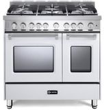 "VPFSGG365DW Verona 36"" Prestige Series Gas Double Oven Range with 5 Sealed Gas Burners and Full Function Convection Oven - White"