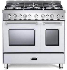 """VPFSGG365DW Verona 36"""" Prestige Series Gas Double Oven Range with 5 Sealed Gas Burners and Full Function Convection Oven - White"""