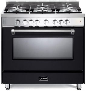 "VPFSGG365E Verona 36"" Prestige Series Gas Single Oven Range with 5 Sealed Gas Burners and Full Function Convection Oven - Matte Black"